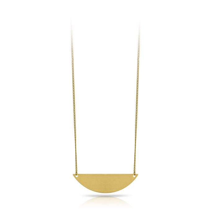 Long moon necklace brass