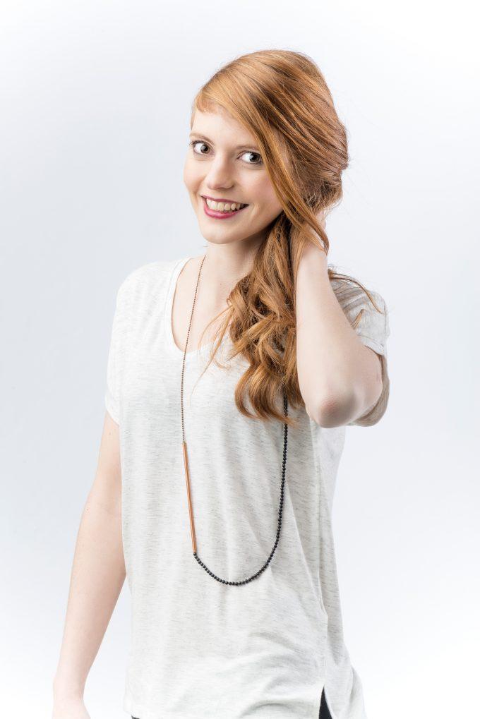 black gemstone & copper tube necklace